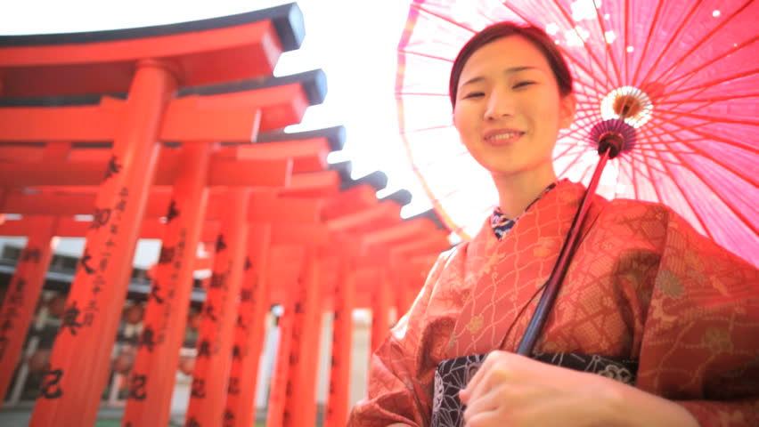 Japan Asian Japanese portrait culture Buddhist temple red kimono parasol traditional costume tourism travel lens flare | Shutterstock HD Video #7836187
