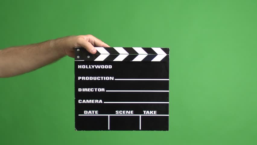 movie clapper on a green screen