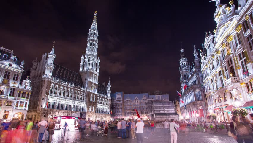 4K  Busy night in the city, main square of Brussels, Belgium. Wide angle scene