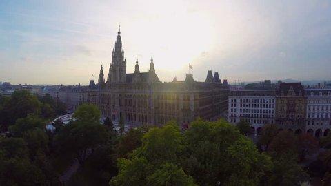 Vienna's beautiful aerial shot Rathaus, seat mayor city council