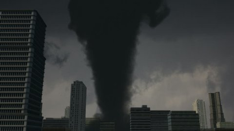 Monster Tornado Strikes City A large EF5 tornado strikes the downtown of a major city.  High-quality VFX animation created in MAYA.