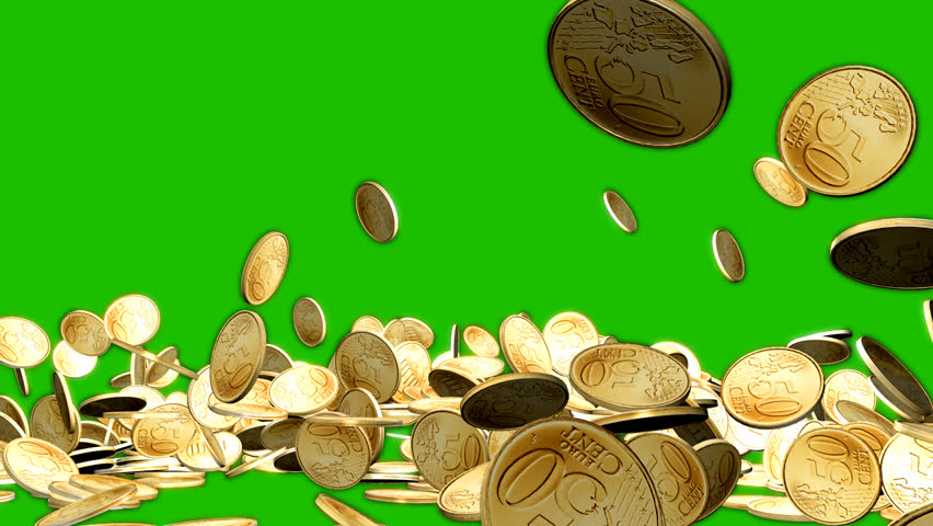 Coins Fall Against Green Chroma Key Background.3D animation.