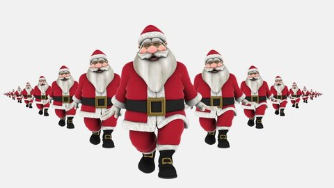Group of Santa Claus are Hip Hop Dancing, waving at end. isolated, Transparent video, alpha matte included at end, Full HD
