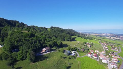 Aerial shot of Lake Geneva country side - Switzerland