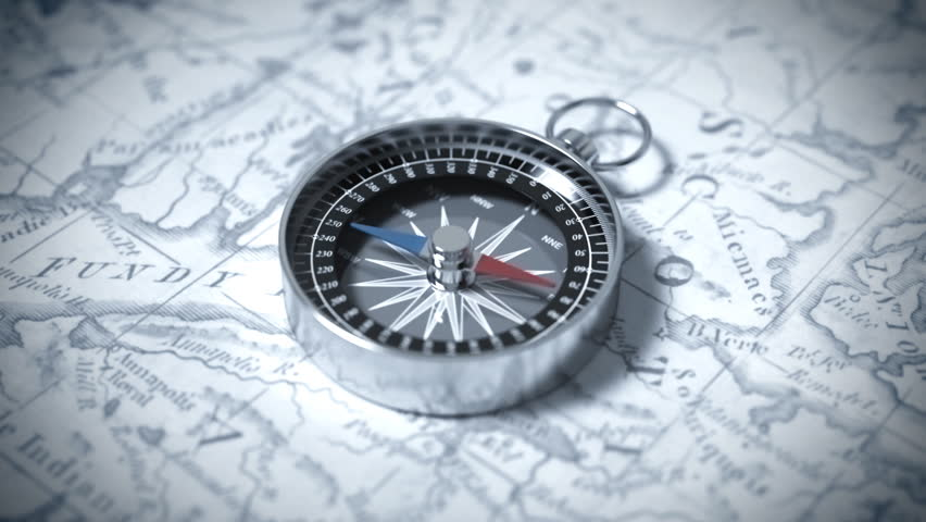 Compass On A Map. 3D Animation.
