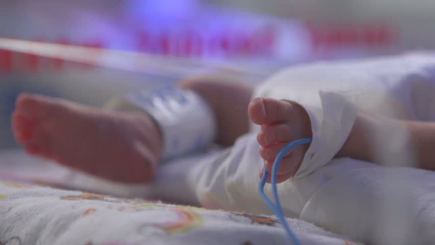 Baby foot in the intensive care hospital bed after the birth | Shutterstock HD Video #8000098