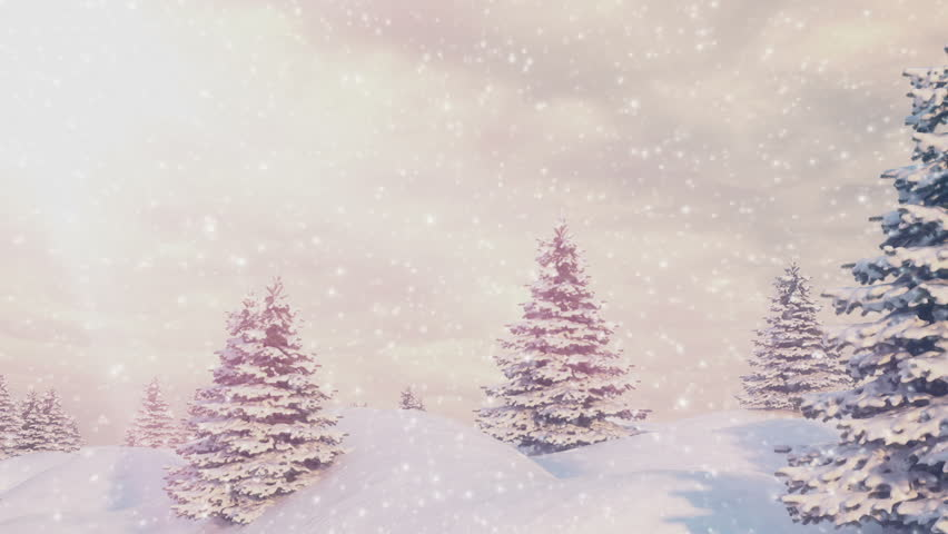 Snow and Christmas trees. Winter Landscape. HD 1080. Seamless loop | Shutterstock HD Video #8007193