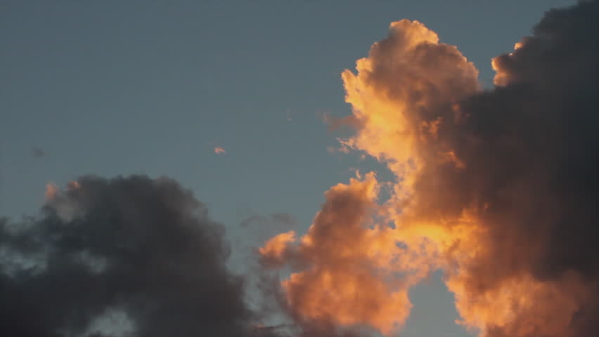 Sunset Clouds - Sky with cumulus clouds in motion at sunset  #8028136