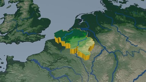 BELGIUM extruded on the world map. Rivers and lakes shapes added. Colored elevation and bathymetry data used. Elements of this image furnished by NASA.