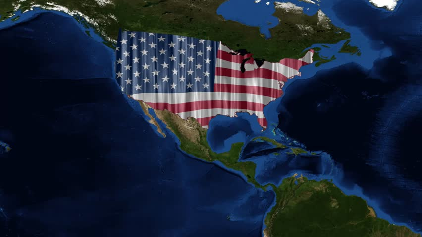4k0017usa Map And American Flag From Space The United States Of - American-flag-us-map