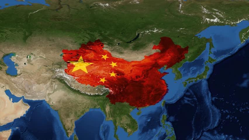 China from space with flag - zoom