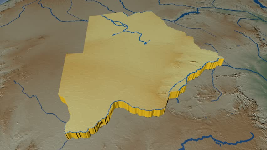 Botswana extruded on the world map with graticule rivers and lakes botswana extruded on the world map rivers and lakes shapes added colored elevation and gumiabroncs Images