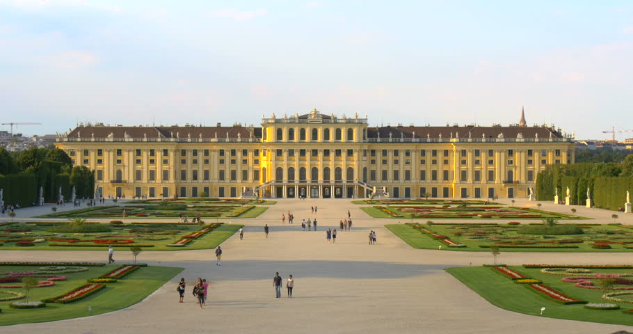 Schonbrunn Palace garden park in Vienna (Wien), Austria, Europe is world famous historic castle building architecture landmark of historical Habsburg monarchy, part of UNESCO heritage.