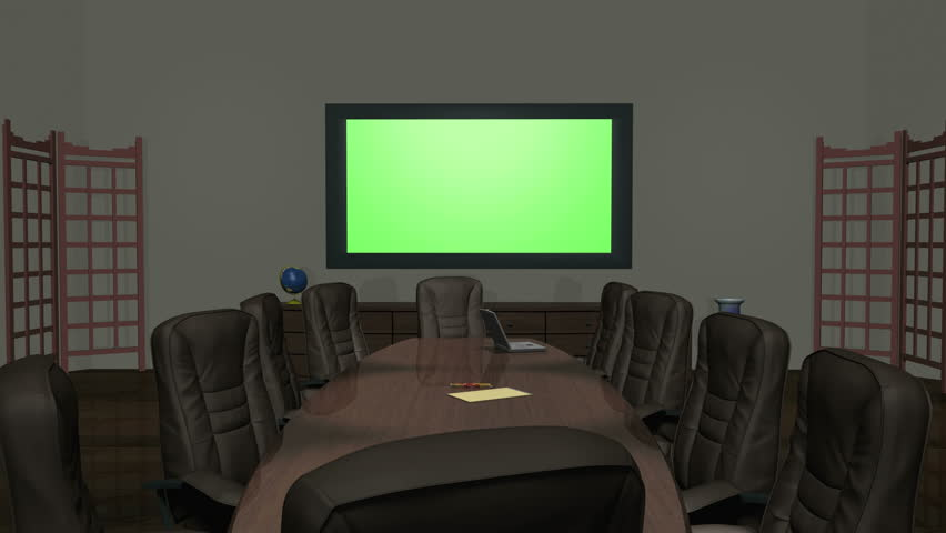 Animation of a conference room, dolly forward while centering on a key-green wall monitor ready for customized graphics or video