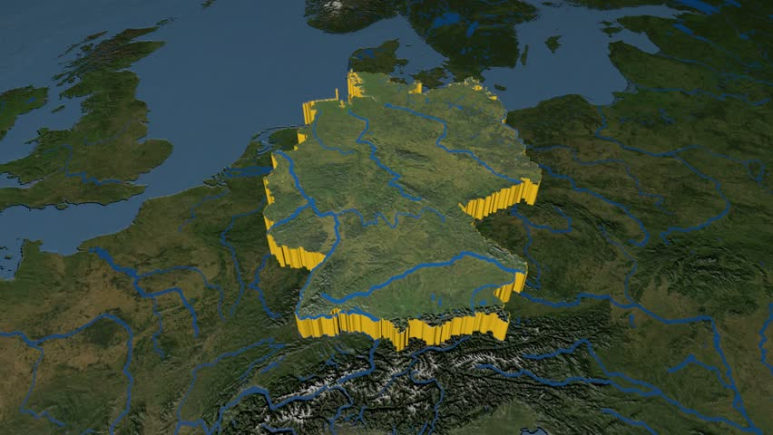 Poland Extruded On The World Map Rivers And Lakes Shapes Added - Germany map high resolution