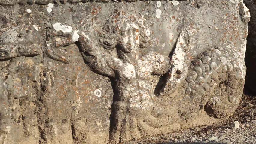 Bas relief on the stone in Antioch in Pisidia near Yalvac, Turkey