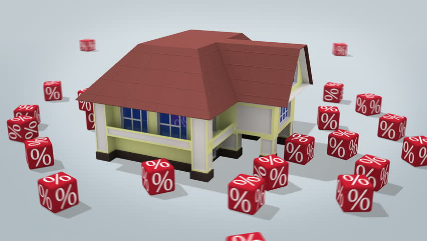House  with percentage symbols rotating on white. 3d rendered conceptual video.