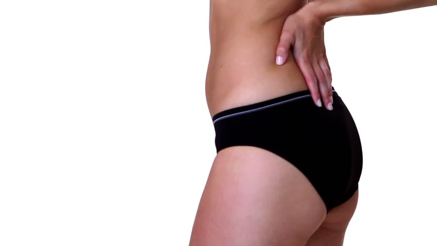 Body part of a fit woman on white background