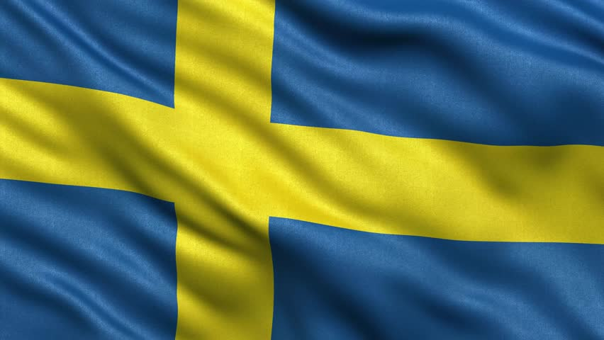 Realistic Ultra-HD flag of Sweden waving in the wind. Seamless loop with highly detailed fabric texture. Loop ready in 4K resolution.