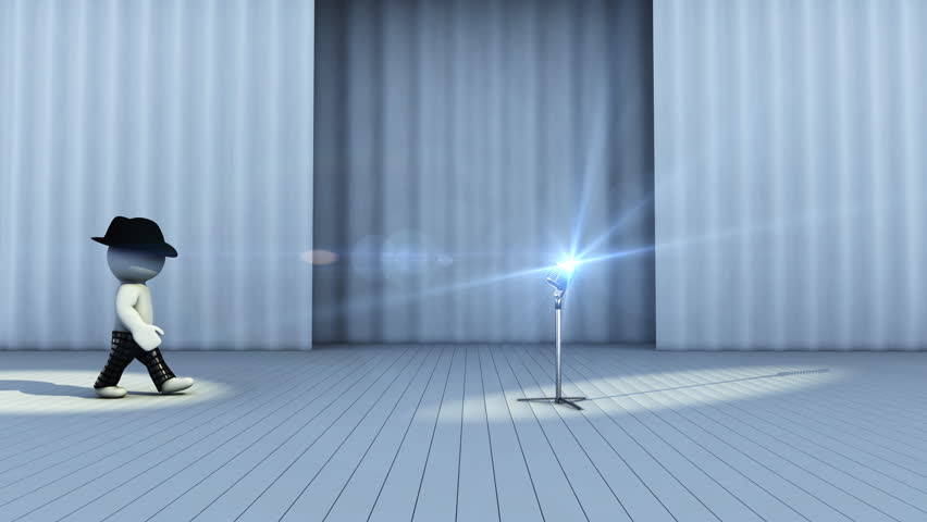 3d cartoon superstar at show or concert. Human going on stage and make performance with light and microphone
