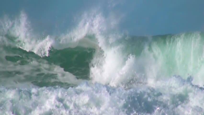Ocean big wave foam blue sky slow motion | Shutterstock HD Video #8230906