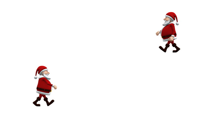 split screen: Cartoon Santa Claus walking from left to right (bottom) and from right to left (top) across the screen, alpha mask included. loopable 3d animation