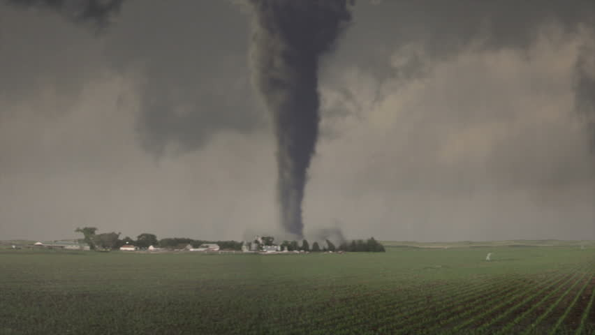 Super Violent Tornado Strikes Farm:  High-quality CGI ready for your project.