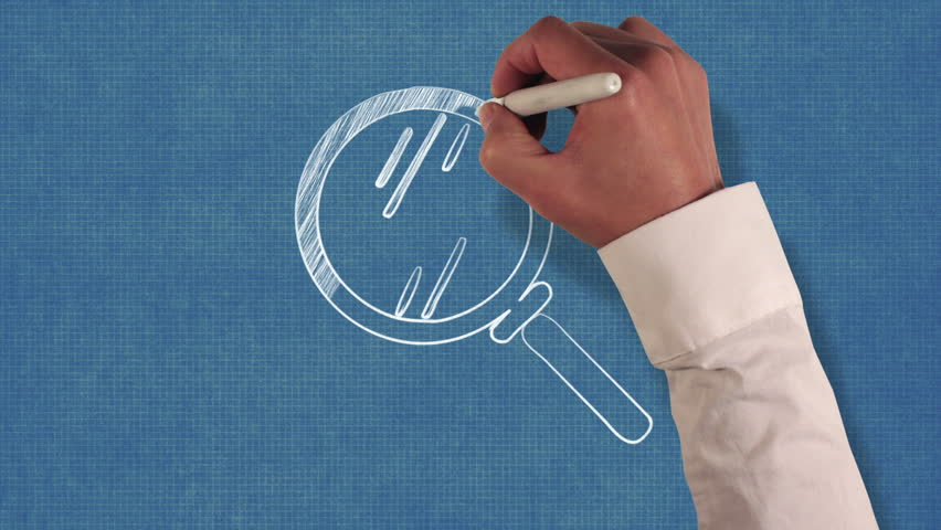 Stock video of business person blueprint stop motion style animation hd0010hand drawing a magnifying glass on blueprint paper malvernweather Image collections