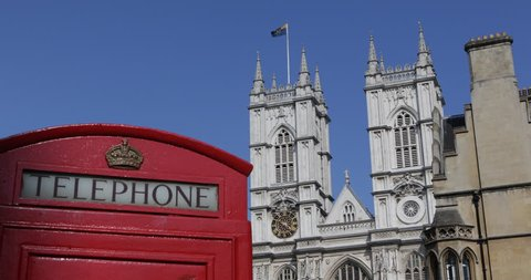 Westminster Abbey London Vintage Telecommunications Old Red Telephone Phonebox, United Kingdom, England ( Ultra High Definition, UltraHD, Ultra HD, UHD, 4K, 2160P, 4096x2160 )