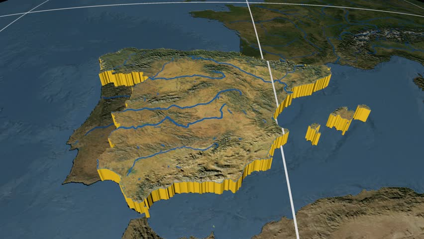 Spain extruded on the world map rivers and lakes shapes added high spain extruded on the world map with graticule rivers and lakes shapes added high gumiabroncs Gallery