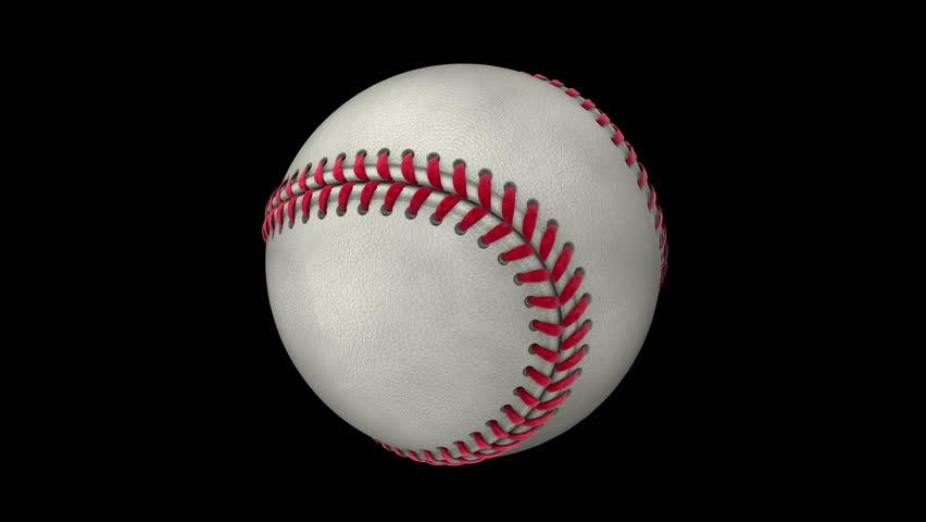Photorealistic Baseball Rotating On The Black Background