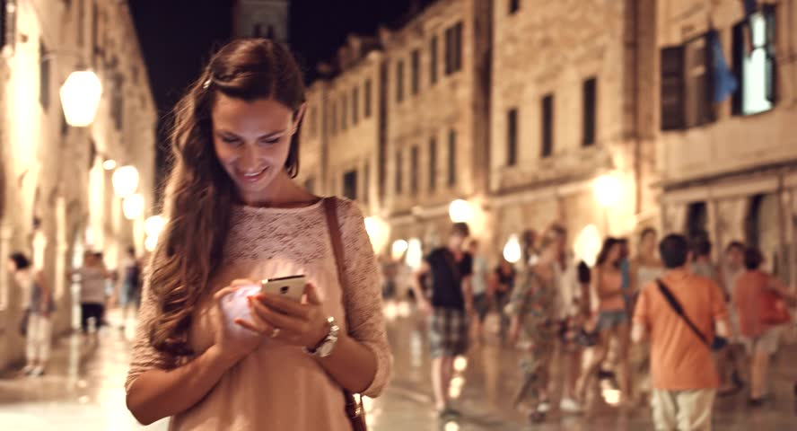 Beautiful Happy Woman Tourist Using Smartphone Tablet Vacation Tourism Application App Texting Sms Smiling Technology 3G 4G High Speed Wi-Fi Everywhere Uhd 4K | Shutterstock HD Video #8307826