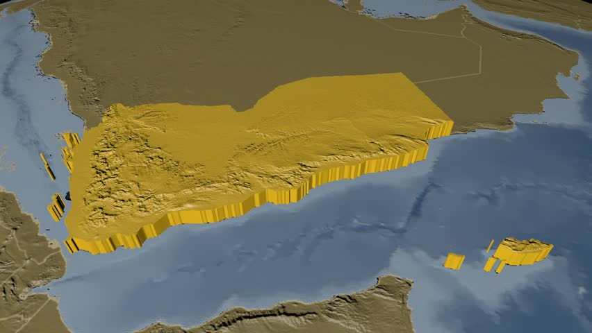 Iran extruded on the world map with administrative borders yemen extruded on the world map with administrative borders elevation and bathymetry data on solid gumiabroncs Images