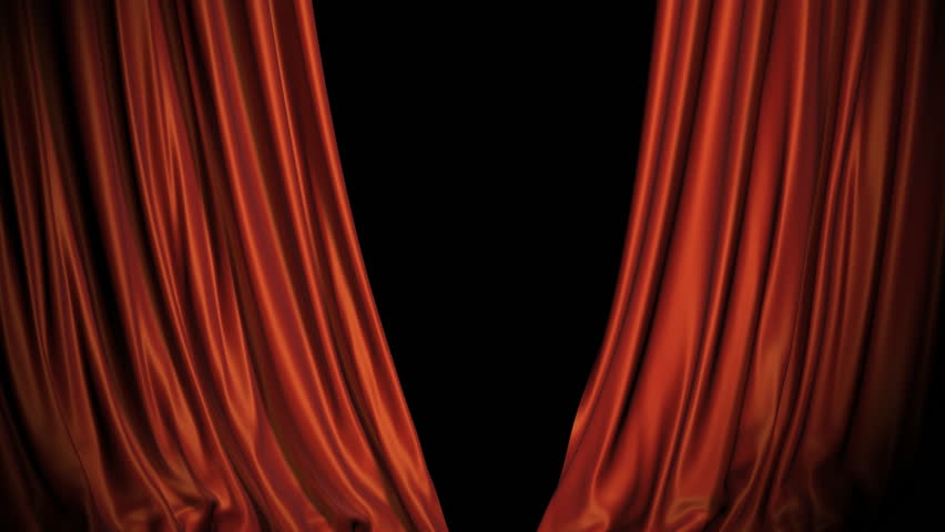 Red and blue curtains opening. Alpha channel included in the end of the clip.