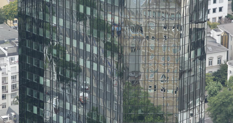 Frankfurt Skyscraper Corporate Tower Office Building Reflection Cars Traffic Day ( Ultra High Definition, UltraHD, Ultra HD, UHD, 4K, 2160P, 4096x2160 ) | Shutterstock HD Video #8353198
