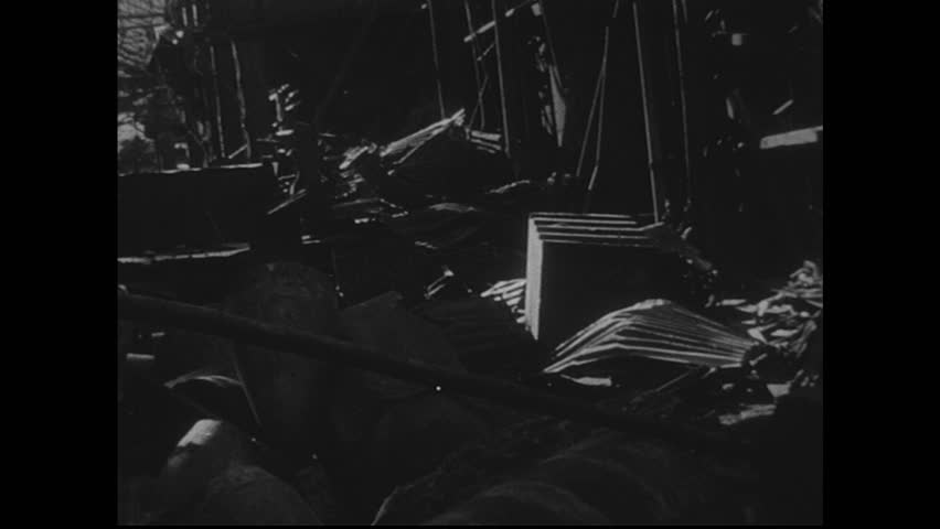 NAGASAKI, JAPAN 1940s : Footage of bomb-damaged equipment in manufacturing plants is severe.  | Shutterstock HD Video #8368186