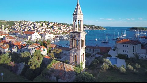 Hvar Island, Croatia was named as Lonely Planet's number 5 destination for 2012 and Conde Nast voted it among the top ten islands in Europe. This aerial drone overhead footage is of the main harbor.