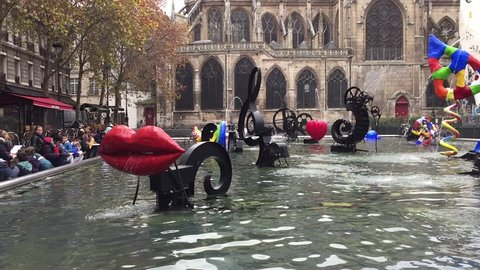 Paris, France - 25 November, 2014: The Stravinsky fountain, or Fountain of the robot, was created in 1983 by Jean Tinguely and Niki de Saint Phalle.