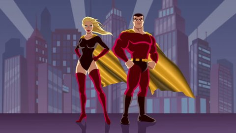Superhero Couple 2: Looping animation of male and female superheroes, posing in front of cityscape.