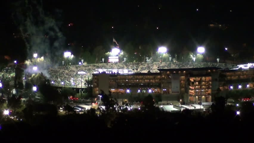 Loop of firework display at the finale of the historic 2015 Rose Bowl