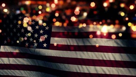 USA America Flag Light Night Bokeh Abstract Loop Animation 4K Resolution UHD Ultra HD