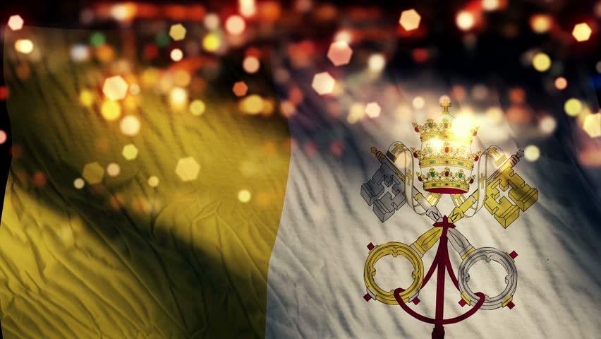 Vatican City Flag Light Night Bokeh Abstract Loop Animation 4K Resolution UHD Ultra HD