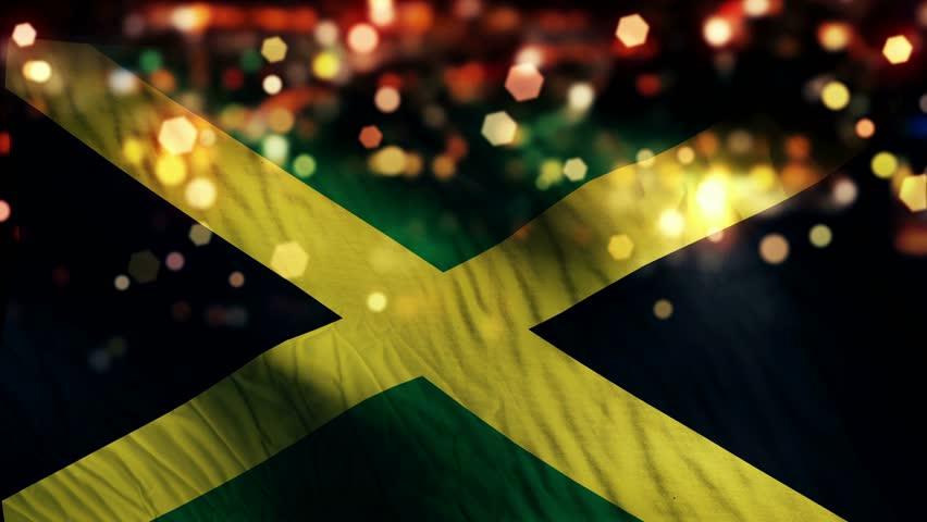 Jamaica Flag Light Night Bokeh Abstract Loop Animation 4K Resolution UHD Ultra HD