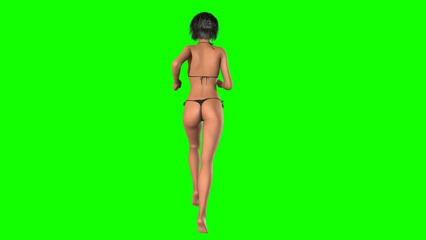 Beach girl in bikini runs - green screen - seamless loopable  | Shutterstock HD Video #8429626