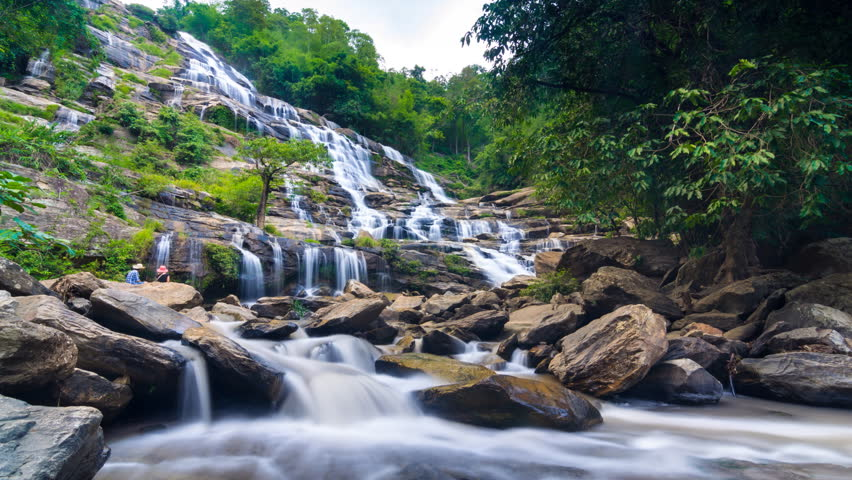 MAEYA Waterfall Famous Cascade Of Inthanon National Park, Chiangmai, Thailand (time lapse slow motion)