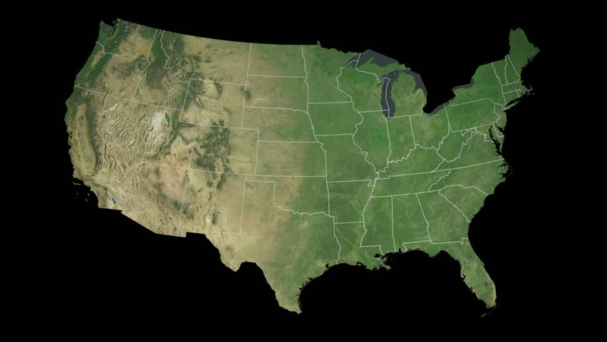 Usa Pennsylvania State Harrisburg Extruded On The Satellite Map Of The United States