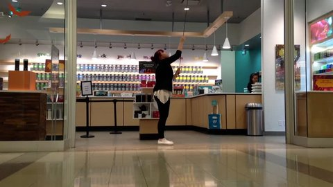 Burnaby, BC, Canada - November 06, 2014 : Store closing down at night inside Metropolis shopping mall in Burnaby BC Canada.