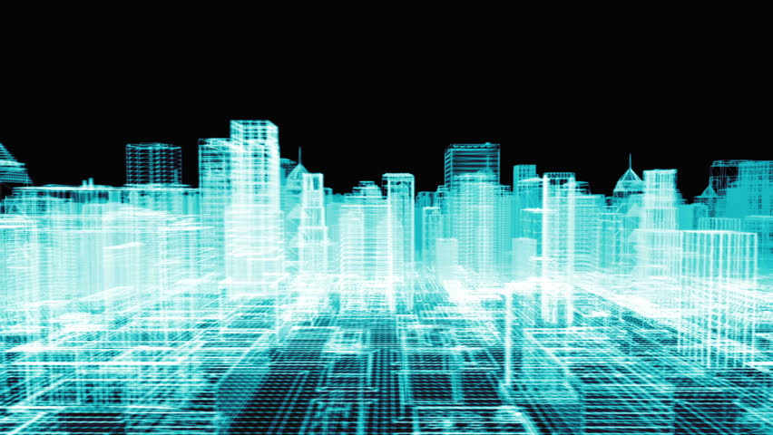 seamless looping animation of a 3d city skyline  wireframe