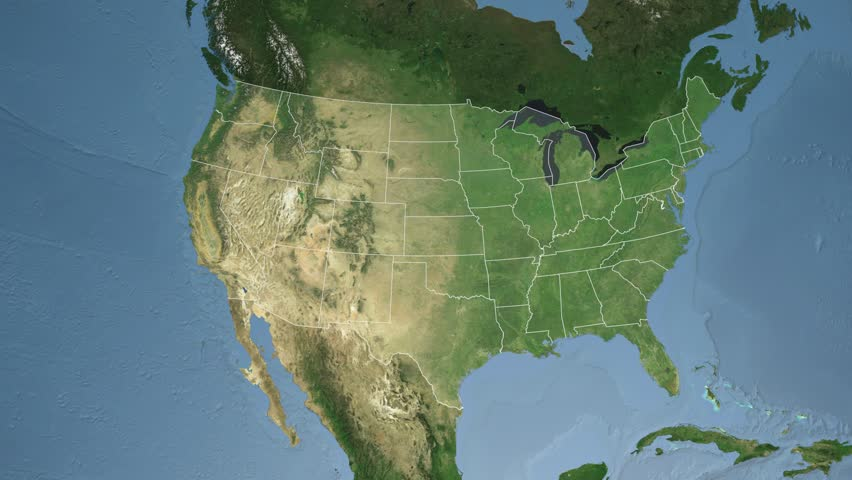 Usa Ohio State Columbus Extruded On The Satellite Map Of North America In