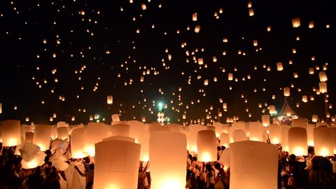 SANSAI, CHIANGMAI, THAILAND - OCT 25: Yee Peng Festival, with more than a thousand floating lanterns in Chiangmai, Thailand on October 25, 2014
